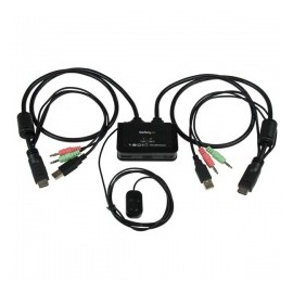 StarTech.com Switch KVM de 2 Puertos HDMI USB Audio con Cables Integrados - Envío Gratuito